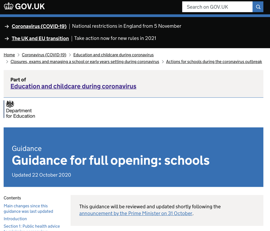 Guidance for full opening: schools webpage