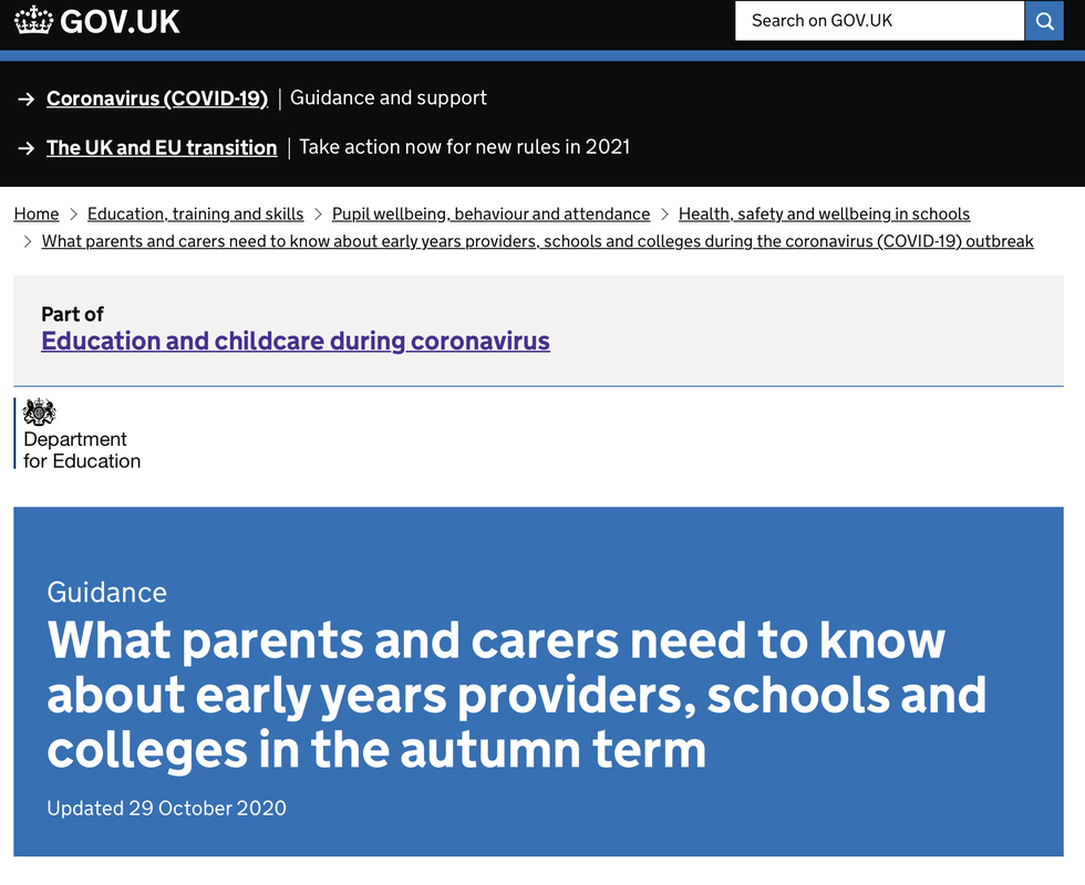 What parents and carers need to know about early years providers, schools and colleges in the autumn term webpage