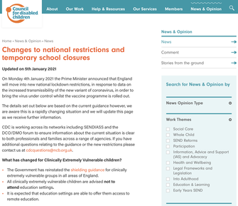 Changes to national restrictions and temporary school closures