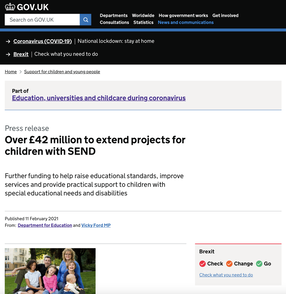 Department for Education webpage