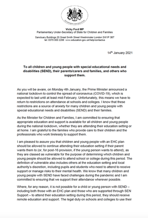 Letter of Vicky Ford MP Parliamentary Under-Secretary of State for Children and Families
